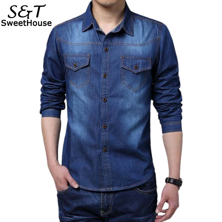 2017 high quality long sleeve denim shirts men casual for Good quality long sleeve t shirts