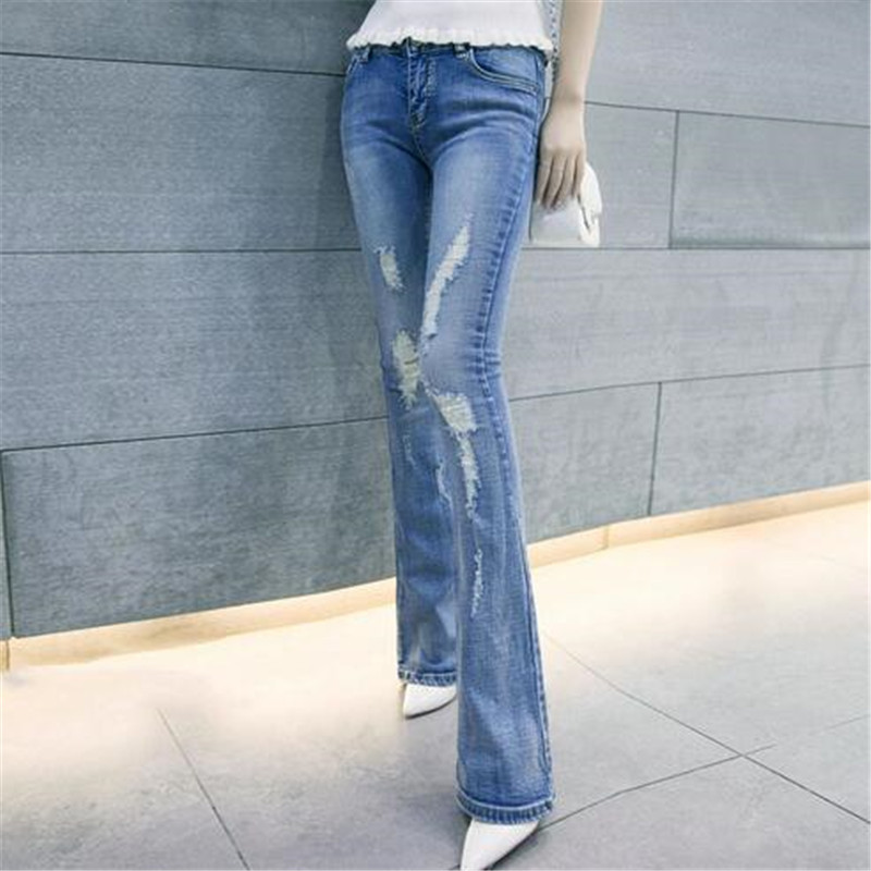 Korea Latest Fashion Women Spring Autumn 2016 Bootleg jeans Ladies Sexy Slim Leisure Big yards Light