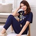 Pijamas Para Mulheres Pijamas de Verão Calças Curtas-Senhoras Pijamas Mulheres salão Sono Algodão de Manga Comprida plus size 3XL