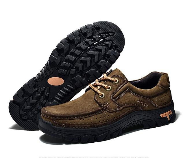 2018 High Quality Cowhide Outdoor Men Shoes Casual Sneakers Shoes Flat Non-slip Comfortable Nubuck Leather Shoes men Sneakers