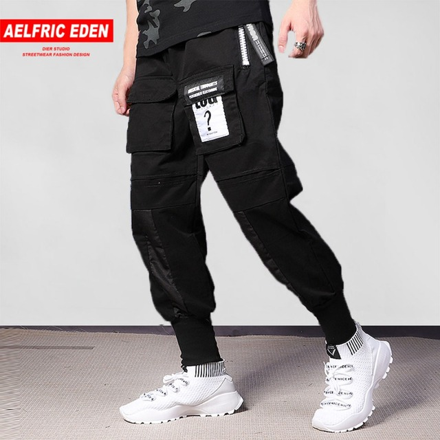75a49cc7382db0 Aelfric Eden Cargo Pant Black Mens Joggers Pants Ribbon Hip Hop Sweat pants  GD Winter Casual Pants Man Elastic Trousers PA181