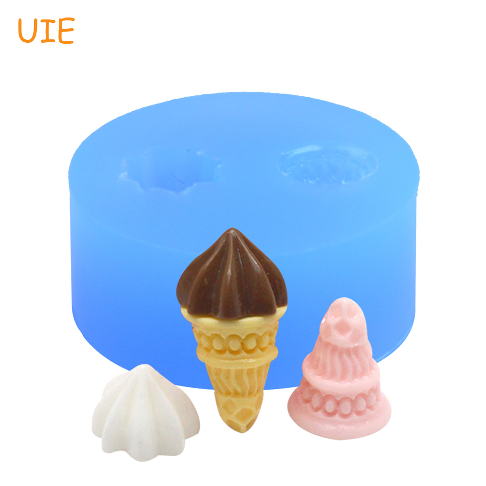 Free Shipping XYL061U One Set 1Pc Mold Icecream Flexible Silicone Mold Silicone Mould - Icrecream Cone and Cream