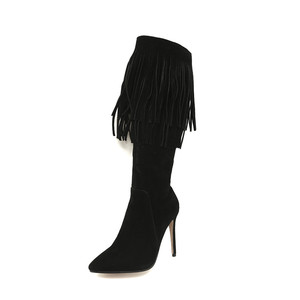 Image 3 - MORAZORA 2020 new arrival mid calf boots women pointed toe autumn winter boots sexy stiletto heels shoes fashion fringe boots