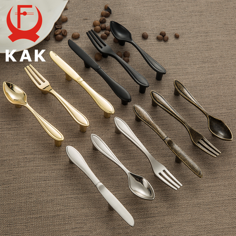KAK 5PCS Fashion Zinc Alloy Cabinet Handles Kitchen Spoon Fork Knife Cupboard Handles Drawer Knobs Novelty Furniture Handle 76mm stainless steel table spoon knife fork teaspoon bakelite handle flatware