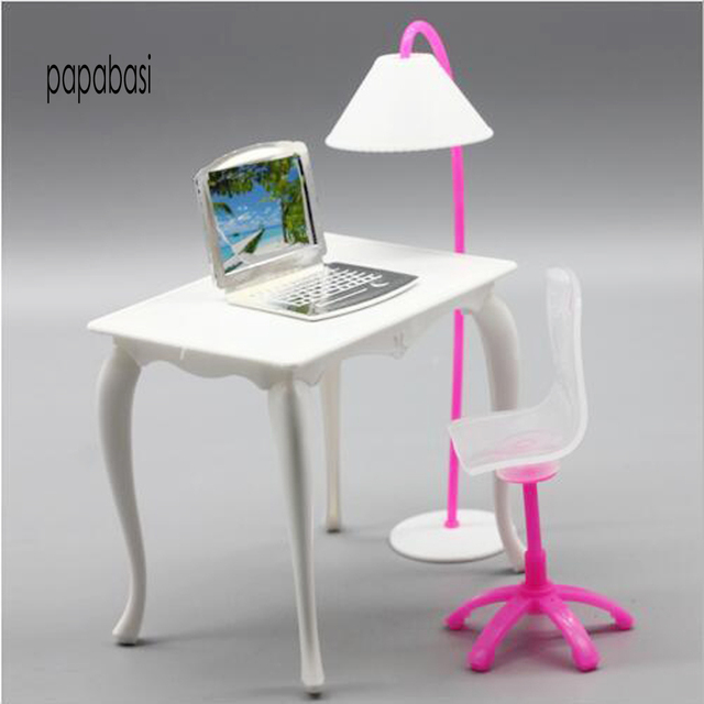Kids Toys 1 6 Doll Furniture Desk Lamp Laptop Chair Accessories For