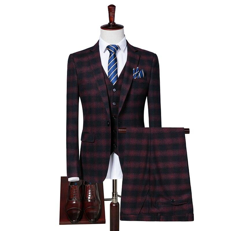 Rouge Plaid Hommes Costume Blazer + Gilets + Pantalon S M L 2XL 3XL Gentleman Banquet De Mariage Élégance Vêtements Hommes de Manteaux Homme gilet