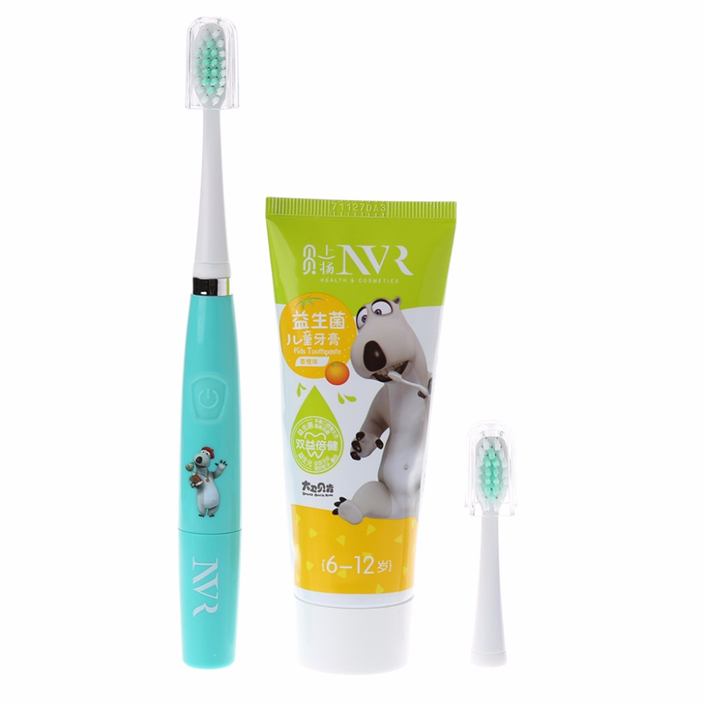 Children Waterproof Rotary Electric Toothbrush and charcoal toothpaste for kids
