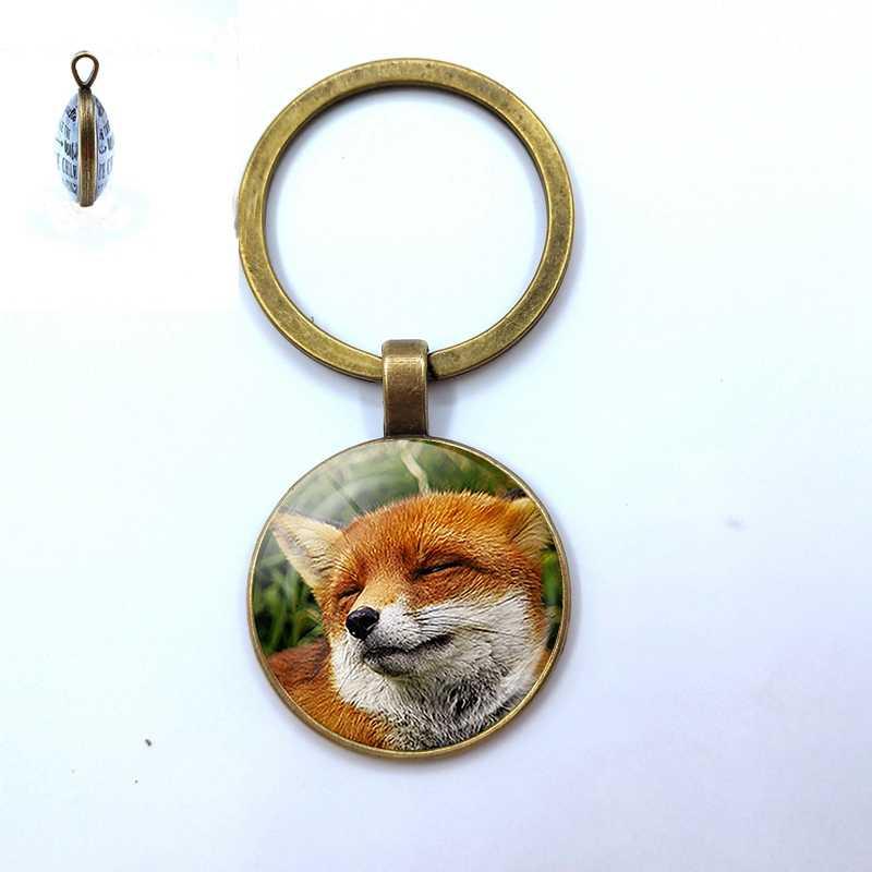 Cabochon De Vidro raposa Chaveiro Adorável Fox Pingente Handmade Banhado A Prata Metal Keychain para Presentes de Natal da Filha