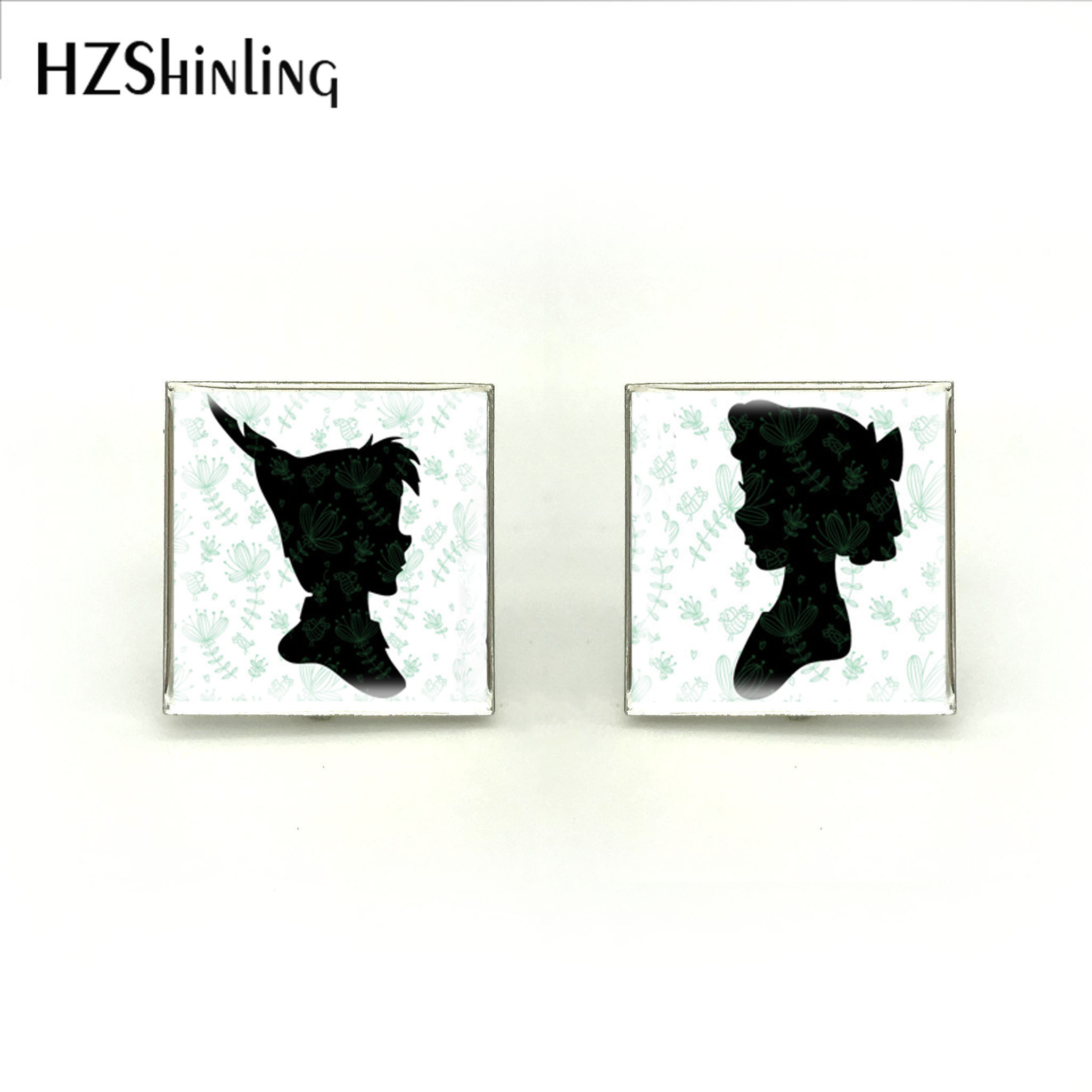 2018 New Square Peter Pan And Wendy Silhouette Cufflink High Quality Brand Cufflinks Silver Handmade Jewelry Cuff For Mens