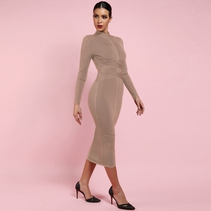 Image 3 - Deer Lady Long Sleeve Bandage Dresses 2019 New Arrivals Summer Women Bodycon Bandage Dress Party Midi Bandage Dresses Elegant