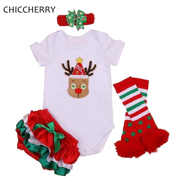 Rudolf Reno de La Nariz roja Trajes de Navidad para Los Recién Nacidos Del Bebé Ropa Traje Bloomers Legwarmer Diadema Infantil Ropa