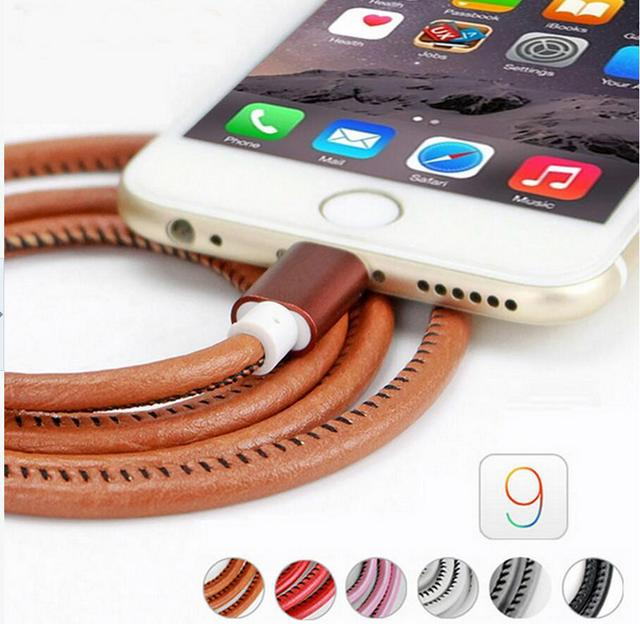 2016 Original 100cm Super Strong Leather Metal Plug Micro USB Cable for iPhone 6 6s Plus 5s 5 iPadmini / Samsung