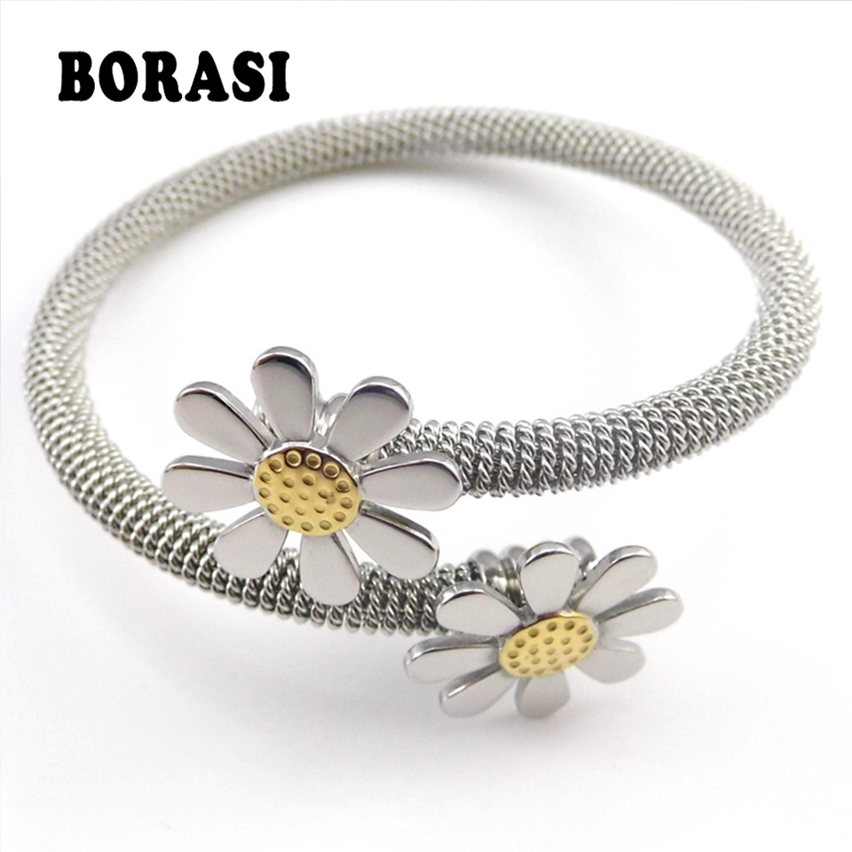 2018 New Fashion Jewelry Bracelets For Women Stainless Steel Elastic Flower Bracelets & Bangles fashion 2 size pure tungsten steel hematite couple bracelets bangles for women jewelry mens silver color bracelets for lover s