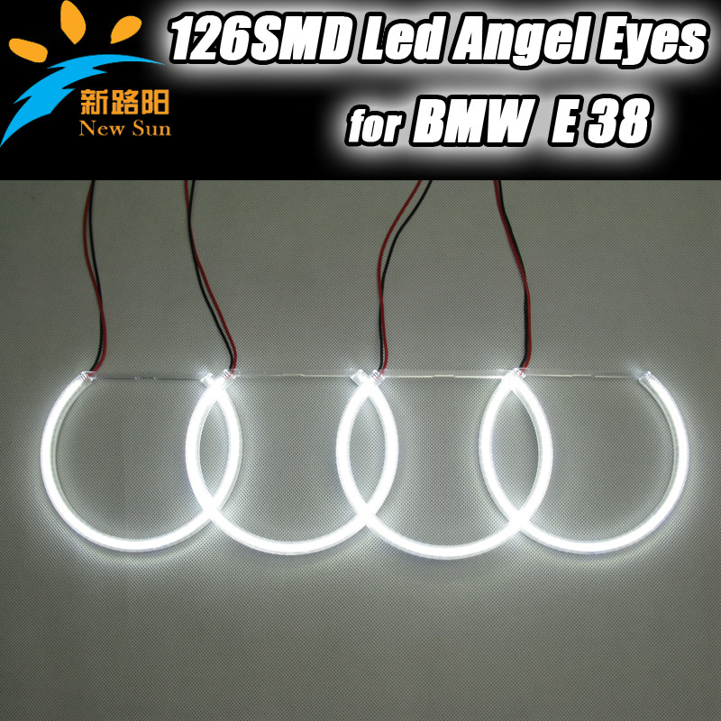 One Kits ( 4 rings)  8000K warm white 3014 SMD led angel eyes for BMW E38 , Auto car parts Led bulb for BMW E38 led head lamp led rings white 3014 smd led angel eyes headlight halo ring marker 131mm 145mm for bmw e46 non projector
