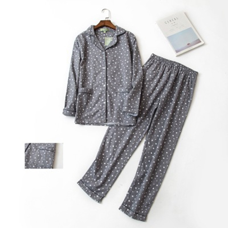 100% Cotton   Pajamas     Set   Women Winter Warm Sexy Femme Print Cartoon Pyjama Long Sleeve Shirts Pants 2Piece/  Set   Mom Homewear