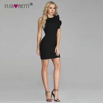 Ever Pretty 2018 New Fashion Women Cocktail Dress 5903 Sexy Stretched Sleeve Ruffles Black Mini Short Evening Gowns robe soiree Cocktail Dresses