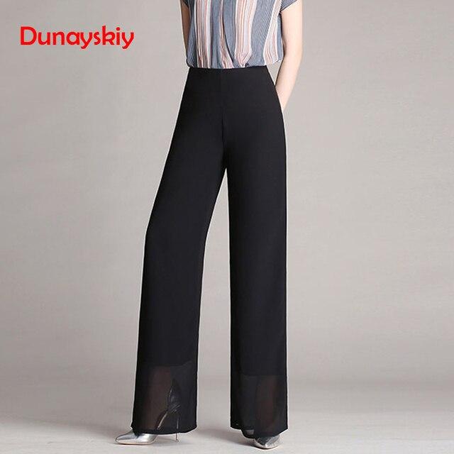3de1afeddf490 Aliexpress.com : Buy Dunayskiy Black Elegant Women Pants Roupas Plus Size  4XL Loose High Waist Chiffon Long Trousers Pantalon Femme Office Lady Style  ...