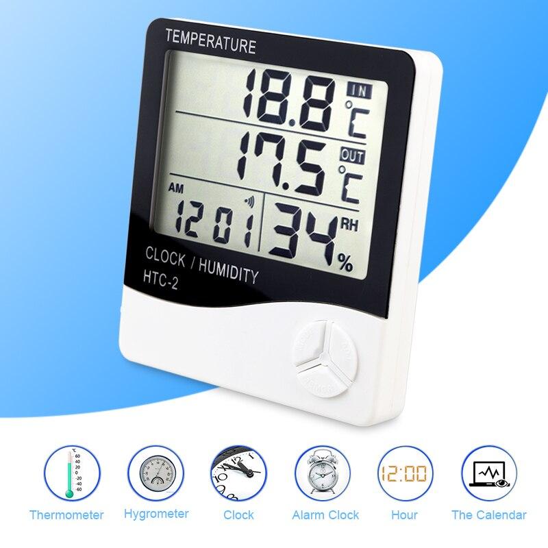 HTC-2 Digital Thermometer Hygrometer LCD Indoor Outdoor Alarm Clock Temperature Humidity Meter Weather Hygrometer ThermometerHTC-2 Digital Thermometer Hygrometer LCD Indoor Outdoor Alarm Clock Temperature Humidity Meter Weather Hygrometer Thermometer