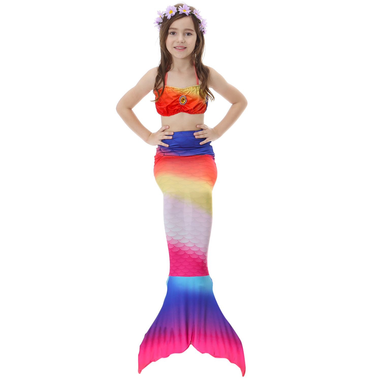 Mermaid Tail For Swimming Girls Bikini Swimsuit Cosplay Kids Swimmalbe Mermaid Tail Princess Dress Costume
