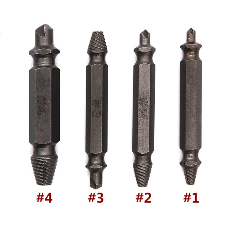 купить 4Pcs Screw Extractor Drill Bits Guide Set Broken Damaged Bolt Remover Double Ended Damaged Screw Extractor Hand Tool 1# 2# 3# 4# онлайн
