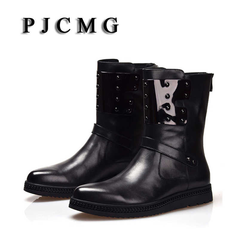 PJCMG Men's Genuine Leather Men Outdoor Waterproof Rubber Snow Boots Leisure Martin England Retro Shoes For Mens