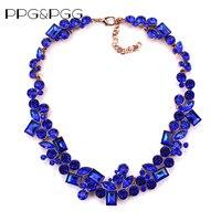 PPG PGG Fashion Charm Jewelry Women Blue Rhinestone Choker Bib Statement Necklace 2017