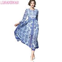 HOHE QUALITÄT Neueste 2018 Frauen Lange Frühjahr Kleid Retro Blau Und Weiß Porzellan Gedruckt Elegante Runway Kleid Party Kleider