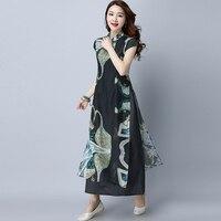 2017 جديد الصيف المرأة فستان طويل الطباعة ضئيلة الرياح وطني السيد شيونغسام الصينية الحرير فساتين سوداء 2990