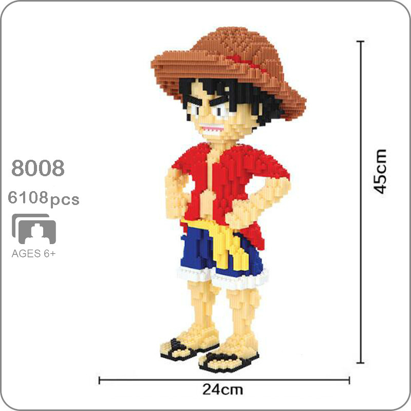 Big Size 8008 Anime One Piece Monkey D Luffy Pirate 3D Model DIY Micro Mini Building Blocks Bricks Assembly Toy 45cm Tall No Box