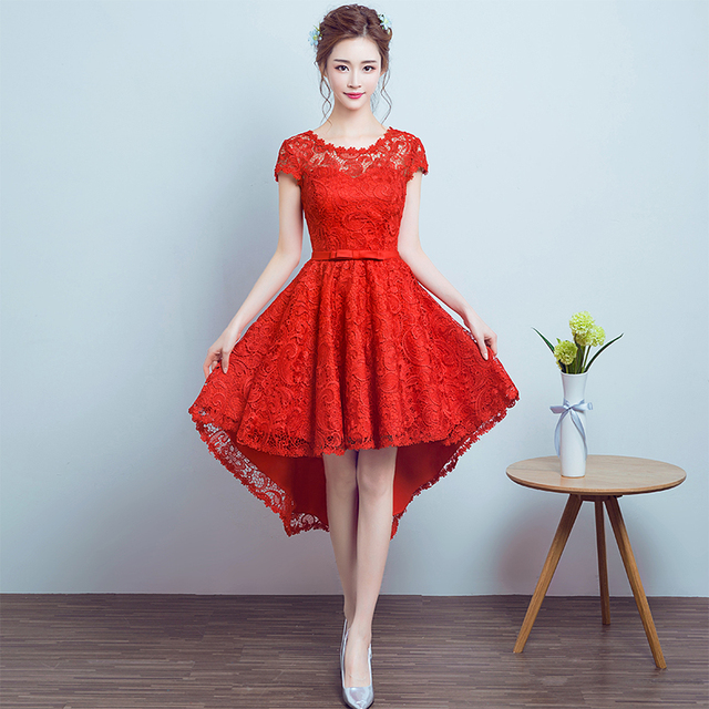 Red Lace Cocktail Dresses 2017 New Cap Sleeve Cocktail Party Court Train Dress Hi-Lo 2 4 6 8 10 Back design Lace up Women Dress