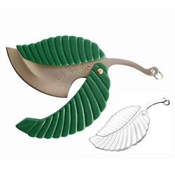 1pcs Mini Green Leaf Shape Pocket Knife Steel Blade Folding Car-styling Keychain Knife Outdoor Camping Hiking Survival Tool
