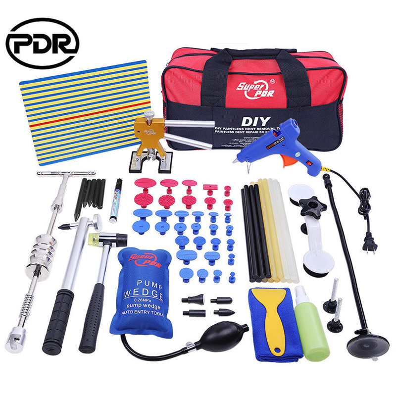 PDR Tool Kit Paintless Dent Repair Dent Removal Reflector Board Slide Hammer Dent Puller Glue Tabs Suction Cups Hammer Tools  paintless dent repair tool pdr kit dent lifter glue gun line board slide hammer dent puller glue tabs suction cup pdr tool set