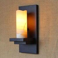 Chamas Da Vela decorativa Arandela Preto Do Vintage luzes do Corredor Corredor Lâmpada de Parede de Vidro de Ferro Forjado vela Criativo