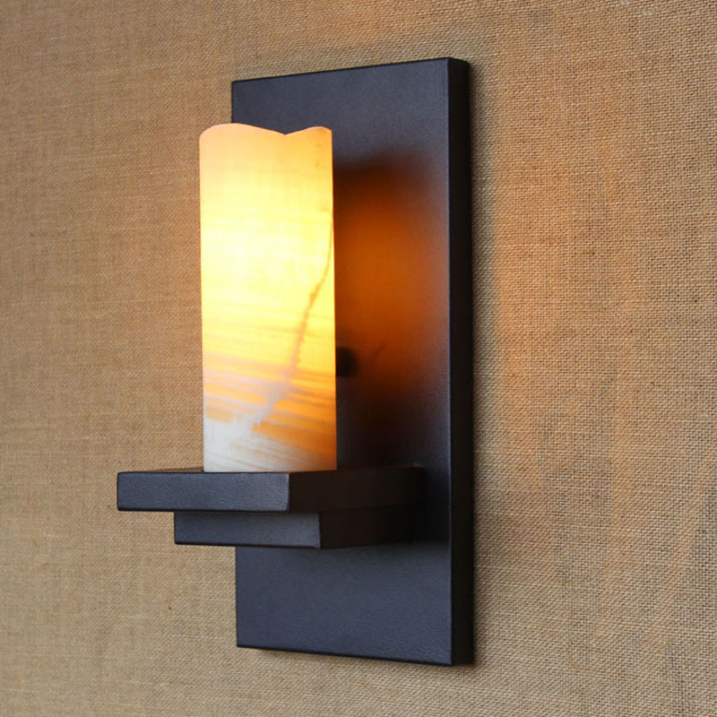 Decorative Flaming Candle Wall Sconce Vintage Black Wrought Iron Glass  Hallway Corridor Wall Lamp Creative candle