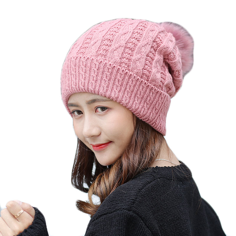 New Pom Poms Women Winter Hats Casual Beanies Fashion Crochet Knitting Hat Thick Female Plus Velvet Warm Hedge Cap Hats 2017 new fashion autumn and winter wool leaves hollow out knitting hat thick female cap hats for girls women s hats female cap
