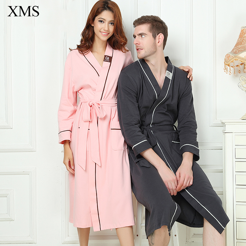 Mens Stain Robe Cotton Bathrobe Men XL Plus size Sleepwear Modern Style Soft Embroidery Label Nightgown for Male Summer