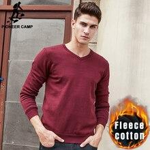 Пионерский Лагерь марка одежды V-образным вырезом твердых свитер мужчины густой шерсти пуловер мужчины повседневная мода Рождественские свитера мужские 611215