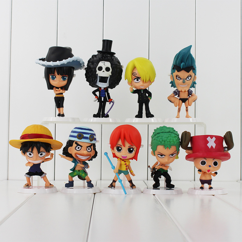 9Pcs/Set 8~12cm Anime One Piece Figures Luffy Chopper Robin Zoro Sanji Nami Action Figure Kids Toys PVC Model Dolls one piece quality goods koala pvc figure 23cm toy model luffy zoro sanji nico robin nami for unisex kids friends japan anime hot
