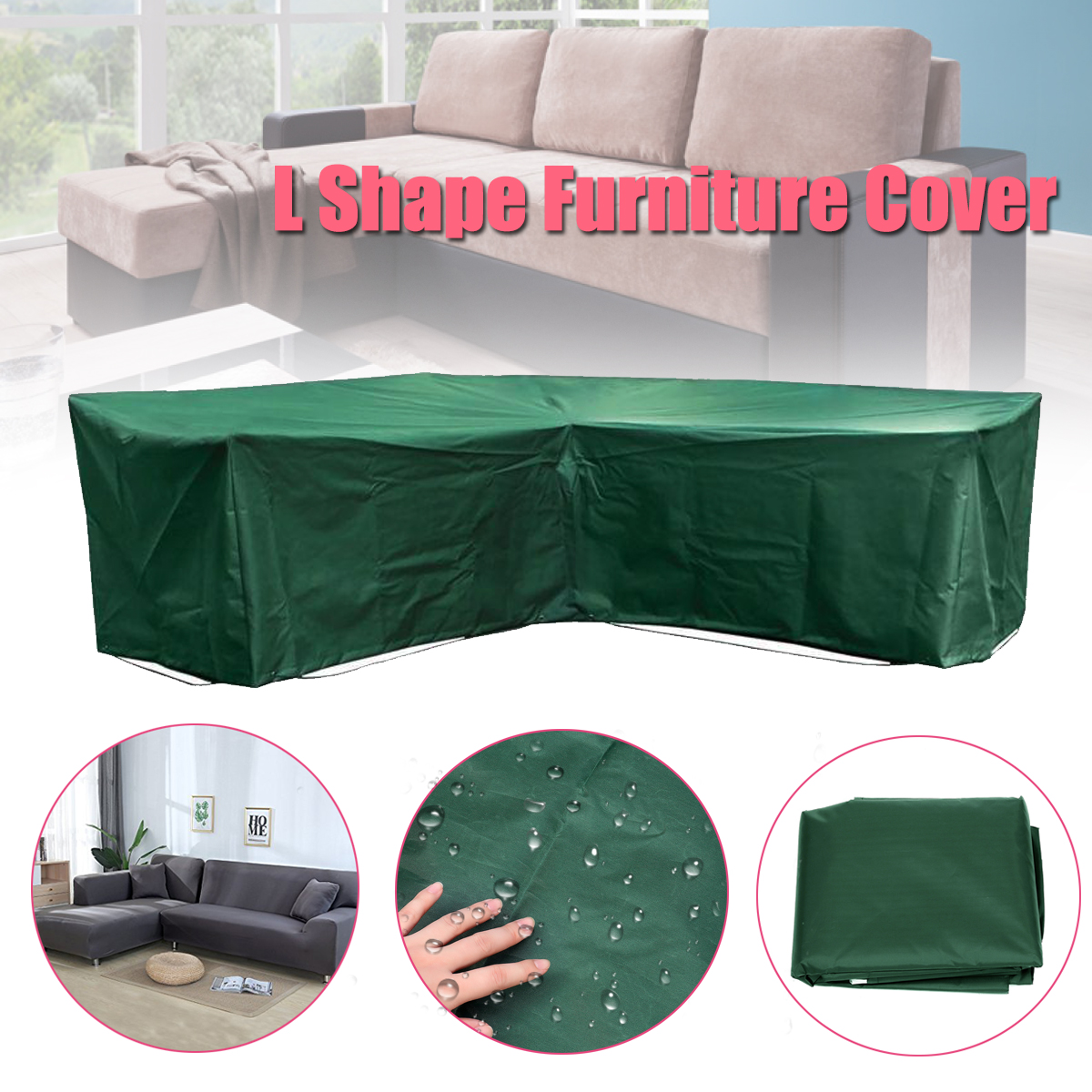 Wicker Furniture Covers Us 32 65 L Shape Dustproof Furniture Cover Waterproof Outdoor Sectional Rain Dust Cover Wicker Corner Sofa Couch Covers All Purpose Green In
