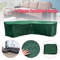 L Shape Dustproof Furniture Cover Waterproof Outdoor Sectional Rain Dust Cover Wicker Corner Sofa Couch Covers All Purpose Green