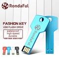 Rondaful Pendrive USB Flash Drive 64 GB de Metal Chave 32 GB Caneta À Prova D' Água Drive16GB 8 GB 4 GB USB 2.0 USB Stick USB Memory Stick USB Flash