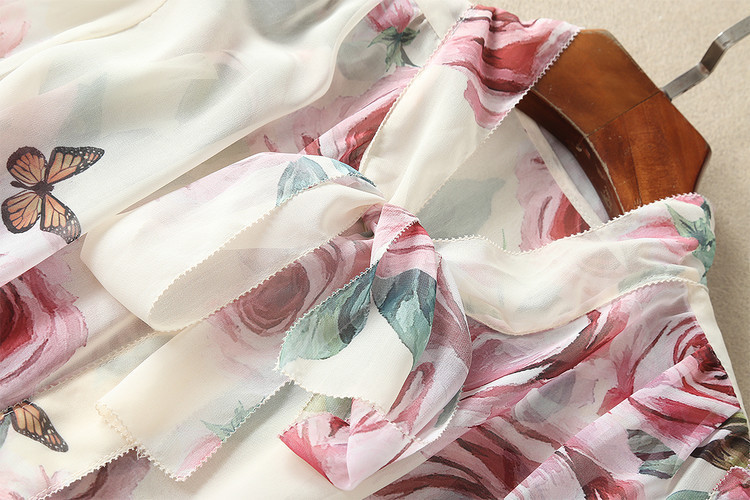 Hauts de piste 2018 printemps femmes élégant à manches longues imprimé Floral Bow soie mousseline de soie Blouse coréenne chemise femmes - 4