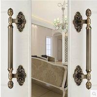 430MM High Quality Vintage Door Handle Antique Brass Glass Wood Big Gate Pull Bronze Hotel Ktv