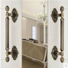 430mm High Quality Vintage door handle antique brass glass wood big gate pull bronze Hotel Ktv Home office door hardware handle