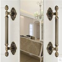 430MM High Quality Vintage Door Handle Antique Brass Glass Wood Big Gate Pull Bronze Hotel Ktv