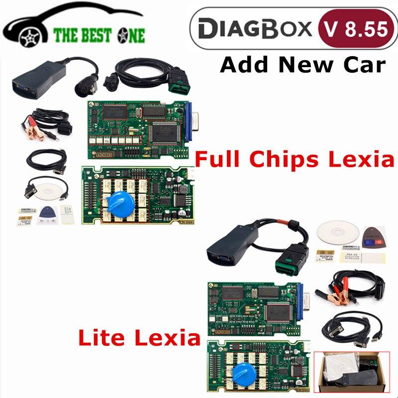 Mais novo diagbox v8.55 + v7.83 lexia 3 chips completos lexia-3 fw 921815c lexi3 pp2000 v48/v25 para citroen/peugeot ferramenta de diagnóstico do carro