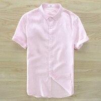 Spanish Style Suehaiwe S Brand Short Sleeved Summer Pink Shirt Men Casual Fashion Men Shirts Linen