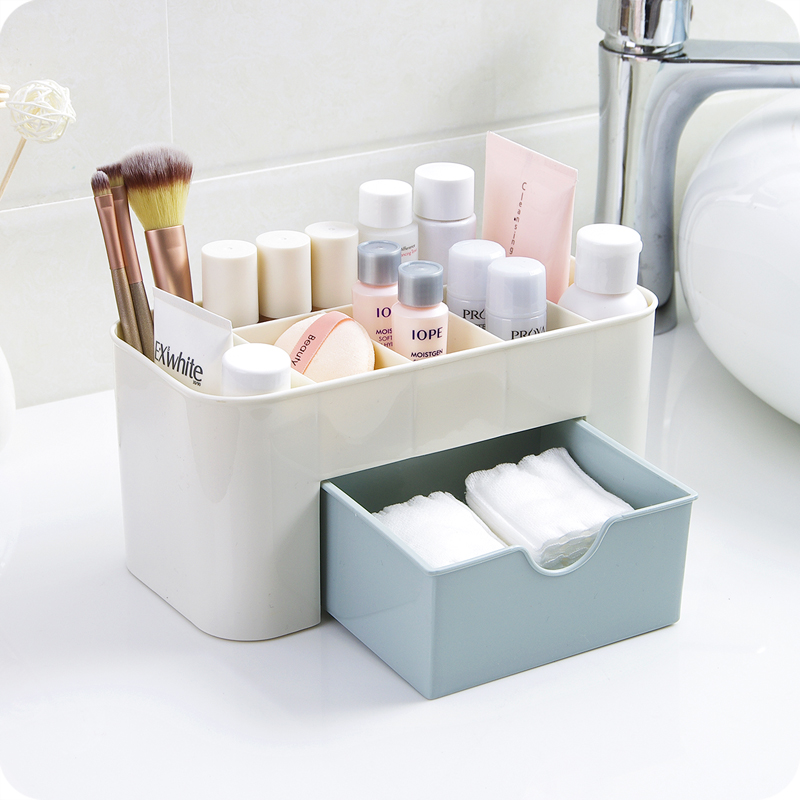 1pc Plastic Desktop Cosmetic Case Multifunctional Jewelry Box Storage Box Desk Storage Container