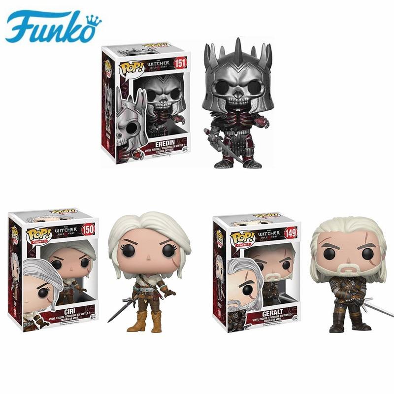 Funko Pop The Witcher 3 - Wild Hunt: #149 Geralt #151 Eredin #150 Ciri Action Figure Vinyl Toys Collectible Model Kids Present