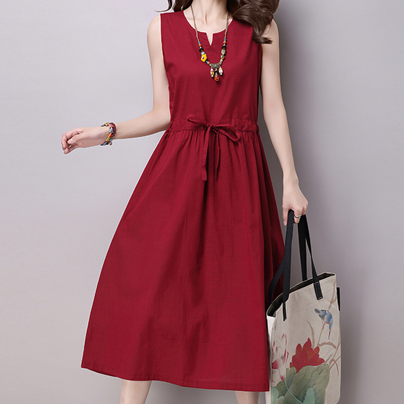 New Summer style Ethnic Cotton Linen women dress Solid Casual Loose Sleeveless Dresses Plus size YL530